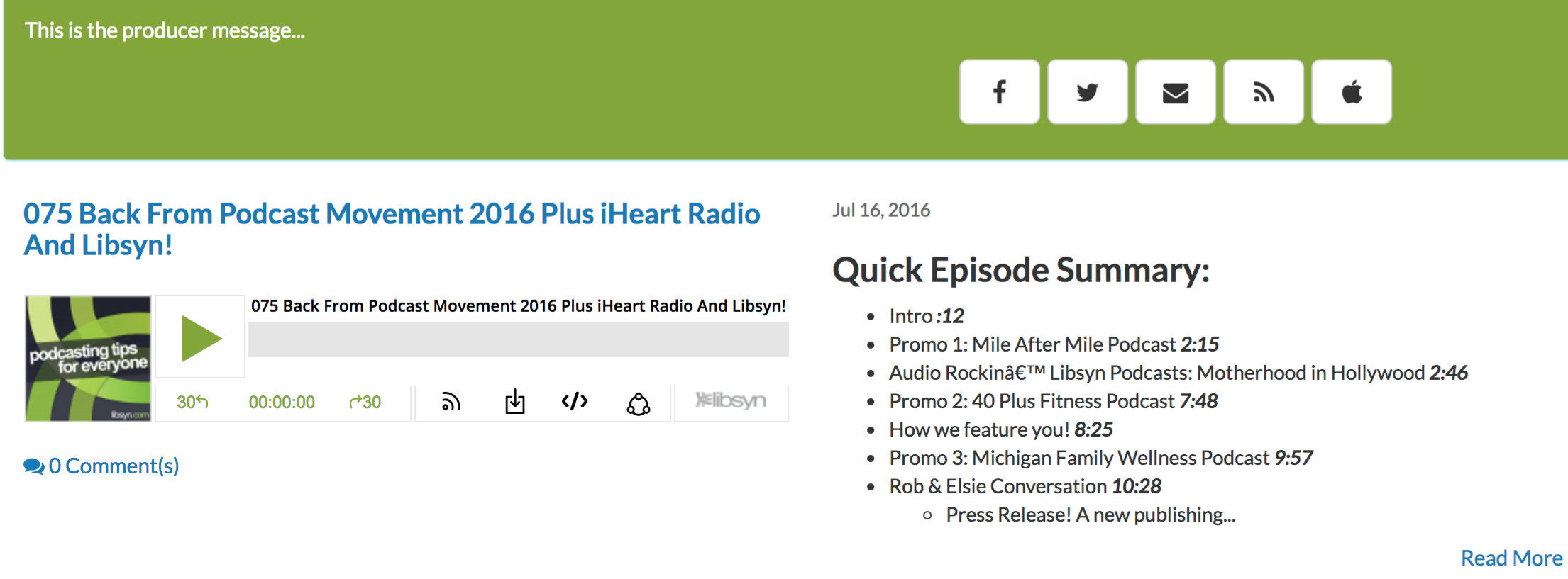 Podcast Page – Libsyn Support