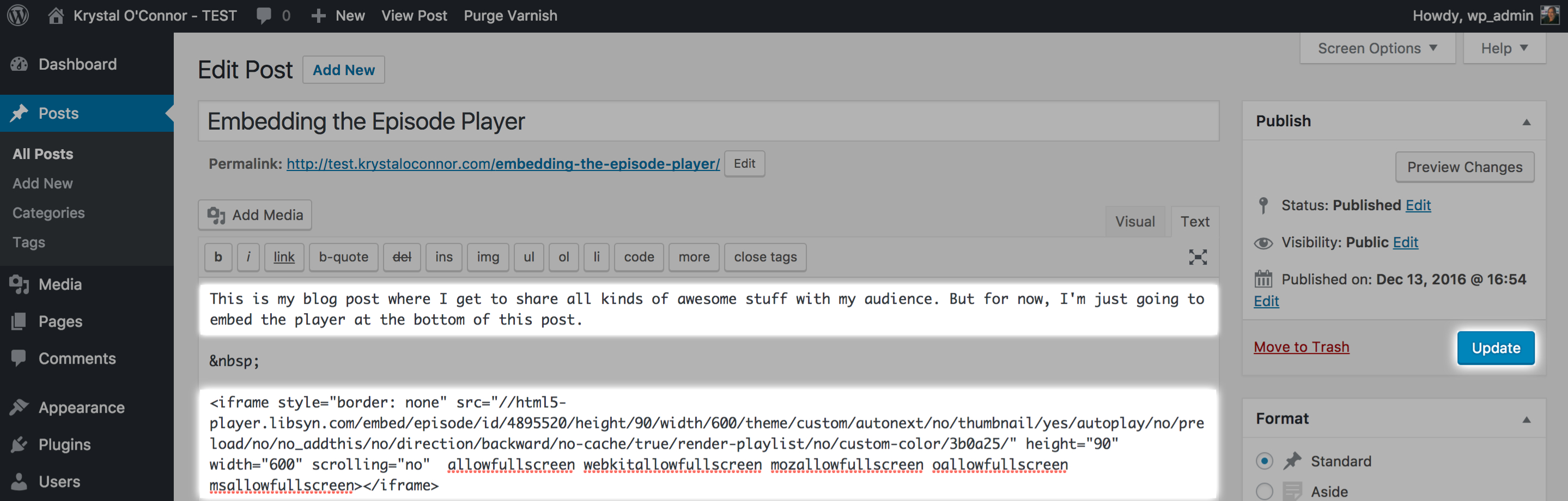 Embedding the Player in a WordPress Post
