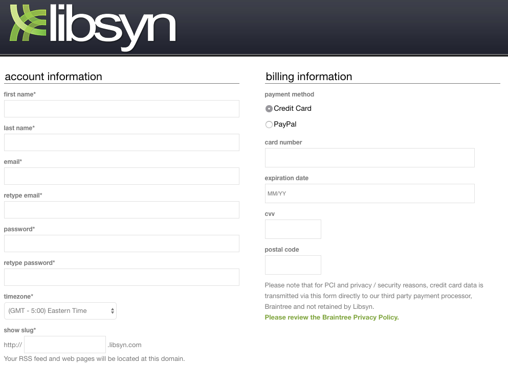 Signup With Libsyn