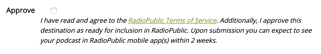 Approving a Submission to RadioPublic