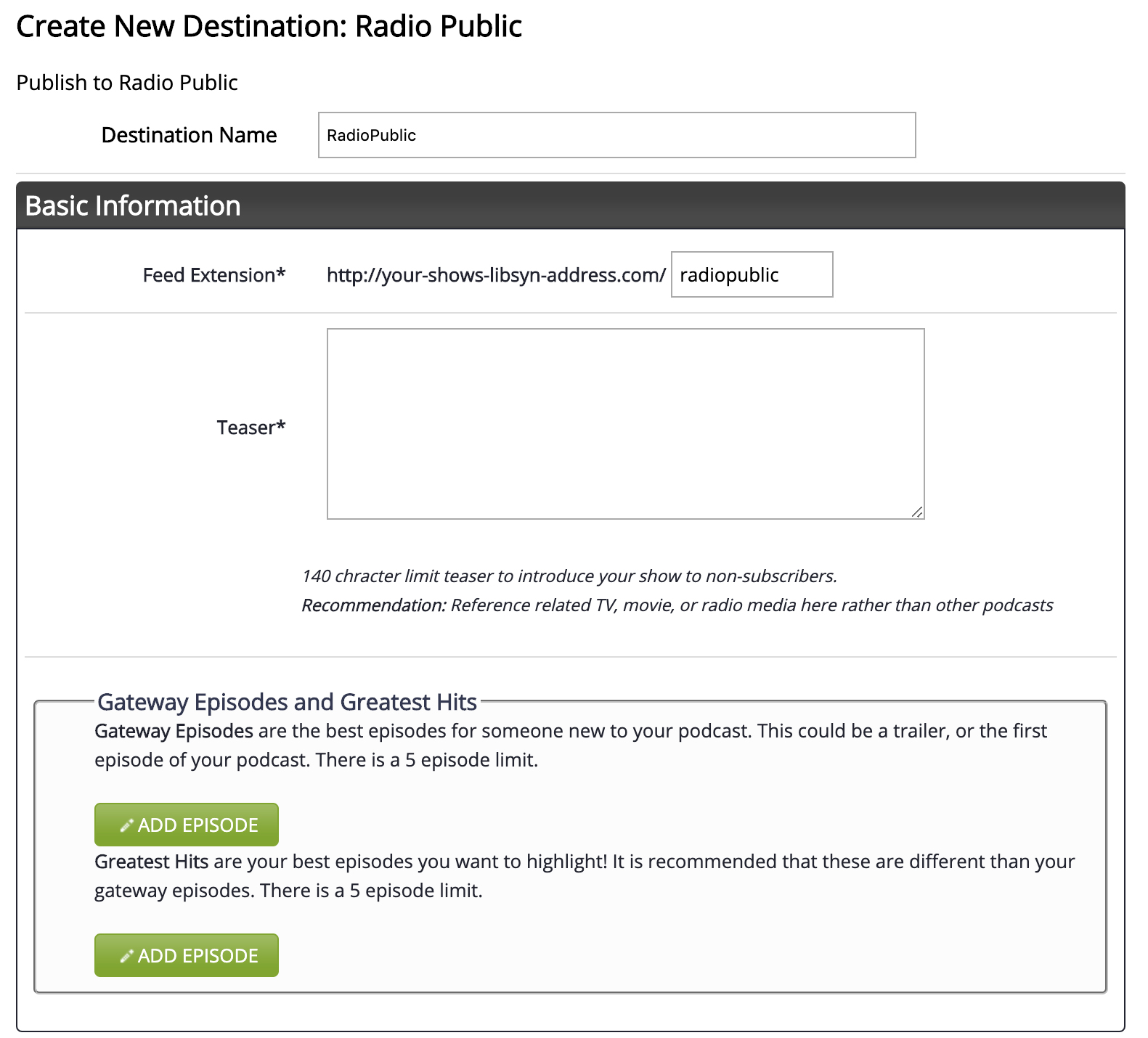 Configuring & Submitting to RadioPublic