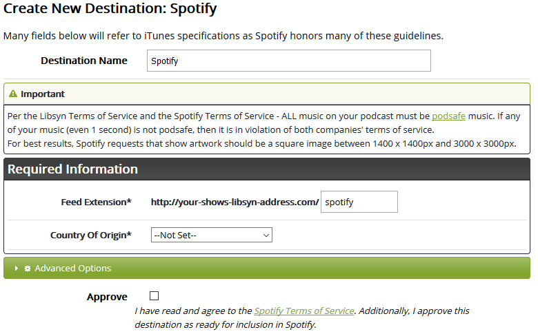 Configuring and Submitting to Spotify